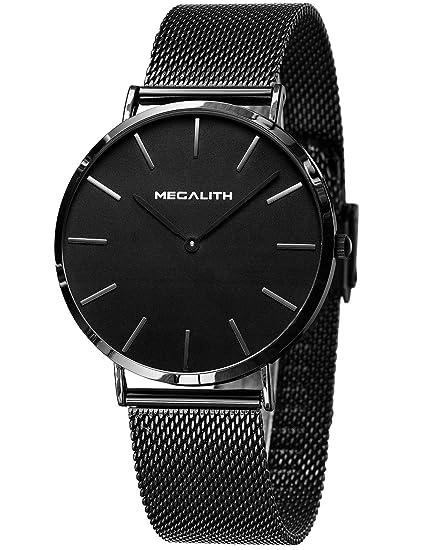 Relojes Hombre Relojes de Pulsera Deportivos Impermeable Acero Inoxidable de Malla Ultra Fino Negro Reloj Analogico Hombre Minimalista Negocios