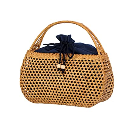 WIEJDHJ Women Bamboo Bags Bohemian Female Beach Handbag Lady Vintage Ratten Knitted  Bag Hollow Handmade Weave 31be0038336c0