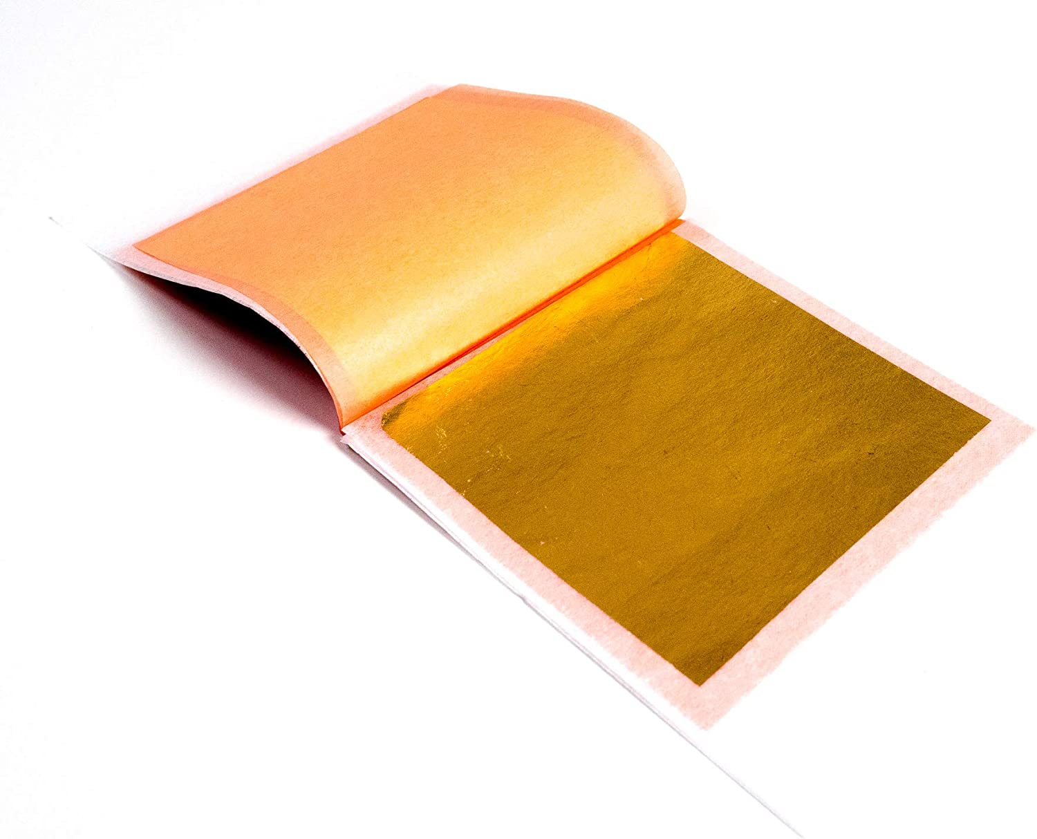 Slofoodgroup 24 Karat Edible Gold Leaf Firm Transfer Sheets (Hard Press Transfer Sheets) 10 Sheets per Book, 3.15 in. by 3. 15 in. Hard Press Transfer Sheets