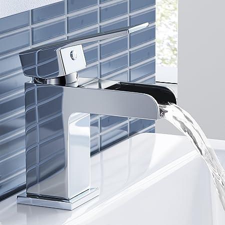 Chrome Waterfall Basin Sink Mixer Tap Modern Luxury Bathroom Lever ...