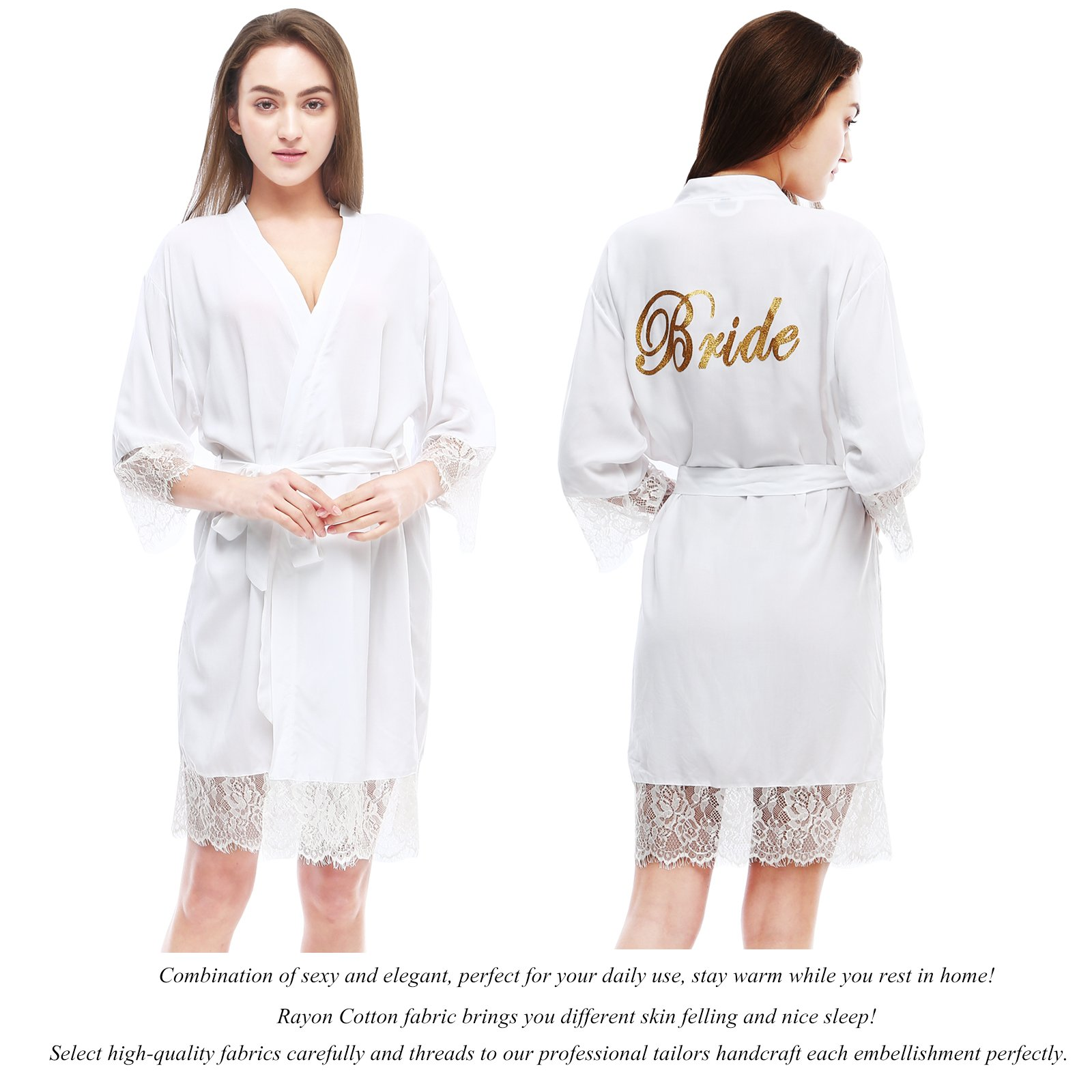 PROGULOVER Women's Set Of 10 Bridesmaid Robes For Wedding Cotton Kimono Bridal Party Getting Ready Robe With Blush Gold Glitter by PROGULOVER (Image #4)