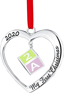 Klikel Baby's First Christmas Ornament 2020 - Silver Christmas Ornament - Silver Heart Ornament - Heart with 3D Hanging Baby Block Ornament