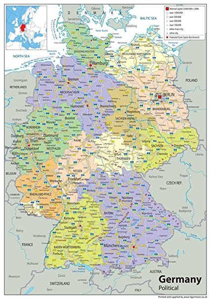 Cartina Geografica Germania Politica.Cartina Politica Della Germania In Carta Plastificata In