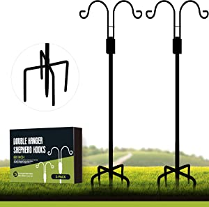 XDW-GIFTS Double Shepherds Hooks for Outdoor, 60 Inch Heavy Duty Two Sided Garden Pole for Hanging Bird Feeder, Plant Baskets, Solar Light Lanterns, Garden Plant Hanger Stands with 5 Base Prongs