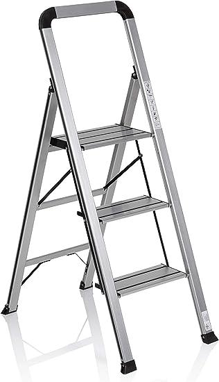 hjh OFFICE 801104 escalera plegable SOLID V aluminio plateado/negro 3 peldaños gran plataforma tapones antideslizantes: Amazon.es: Bricolaje y herramientas