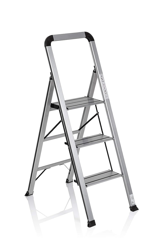 hjh OFFICE 801104 escalera plegable SOLID V aluminio plateado ...