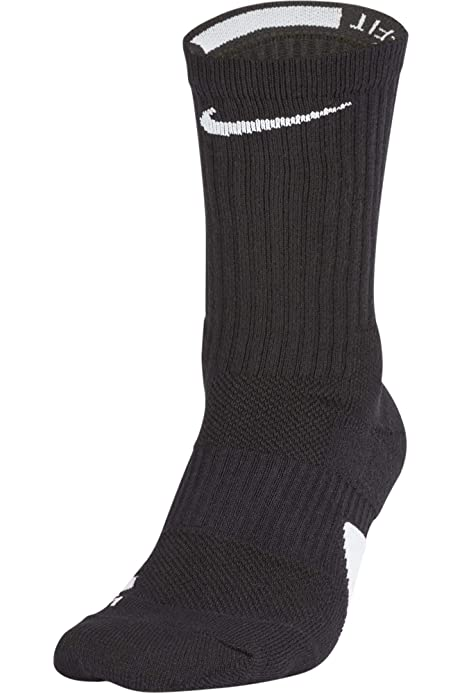 NIKE DRY ELITE 1.5 CREW CUSHIONED BASKETBALL DRIFIT SOCKS BLACK SX5593-013 UK2-5