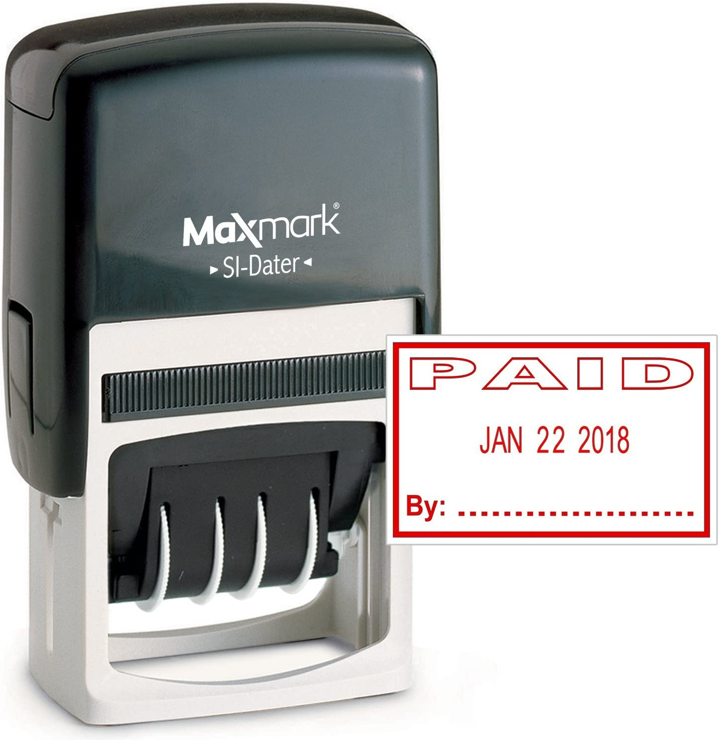 MaxMark Office Date Stamp with Paid Self Inking Date Stamp - RED Ink