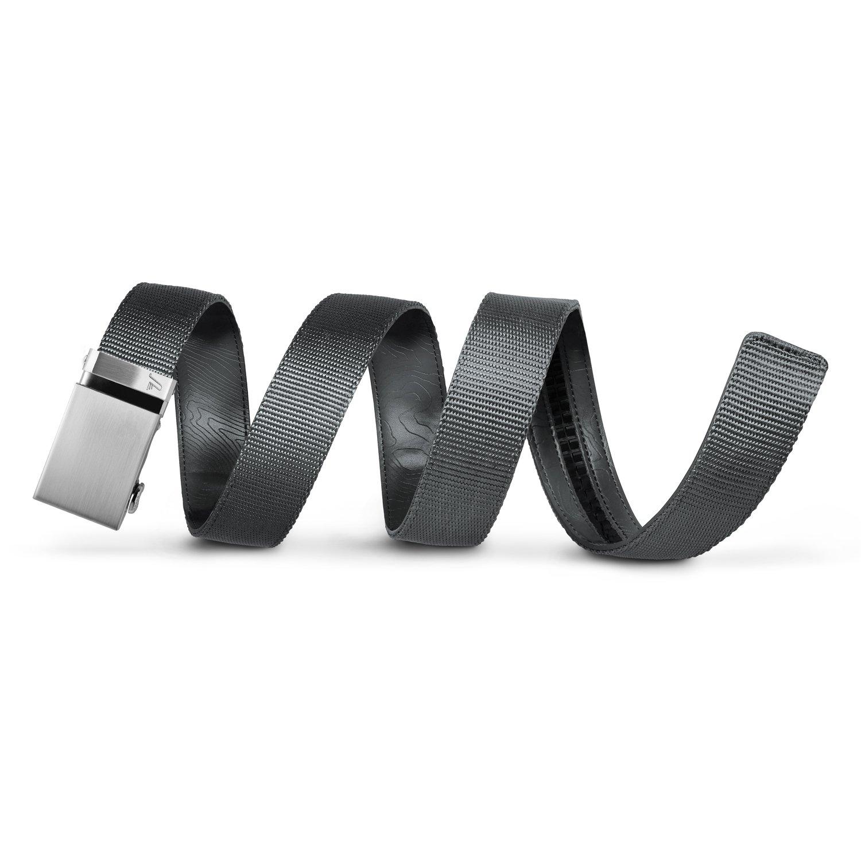 Mission Belt Men's Ratchet Belt - 40mm Steel Buckle/Gray Nylon Strap, Medium (Up to 35'')