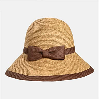 650fae48eb7 Big Bow Wide Brim Floppy Summer Hats for Beach Panama Straw Bucket  Protection Visor Femme Cap
