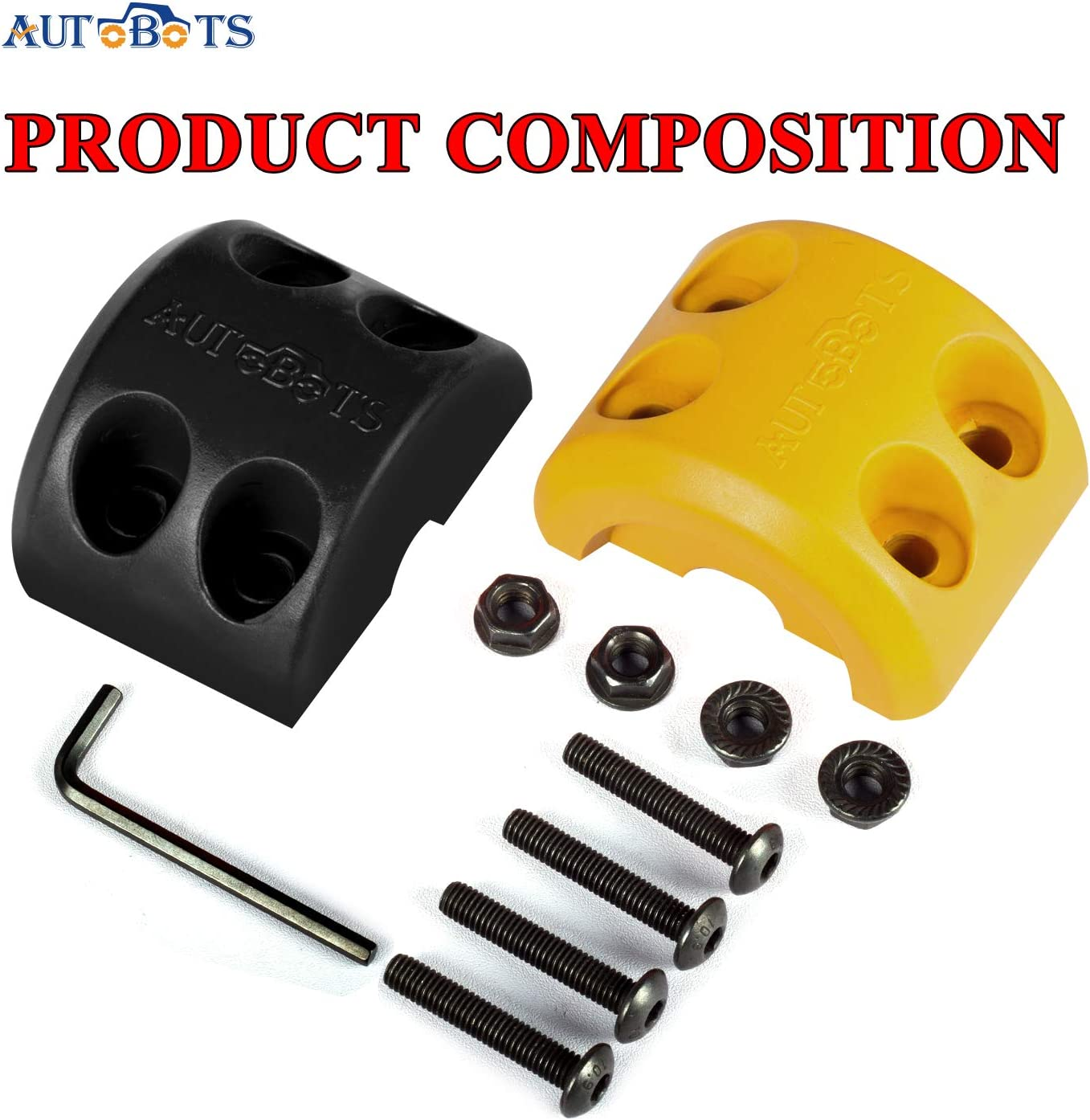 AUTOBOTS Rubber Winch Cable Hook Stopper 2Pcs Waterproof Durable Winch Rope Line Saver with Allen Wrench for ATV UTV Winches Red Black /…