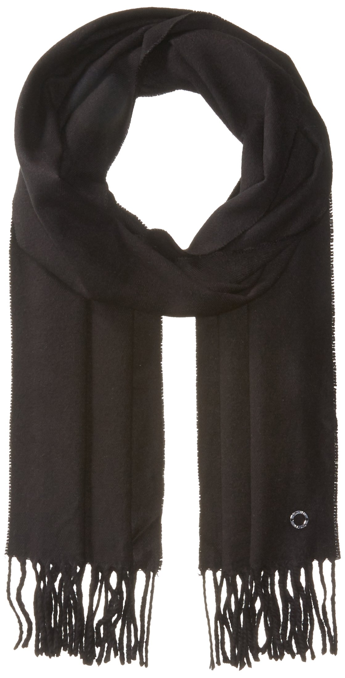 Calvin Klein Women's Solid Woven Scarf, Black, One Size