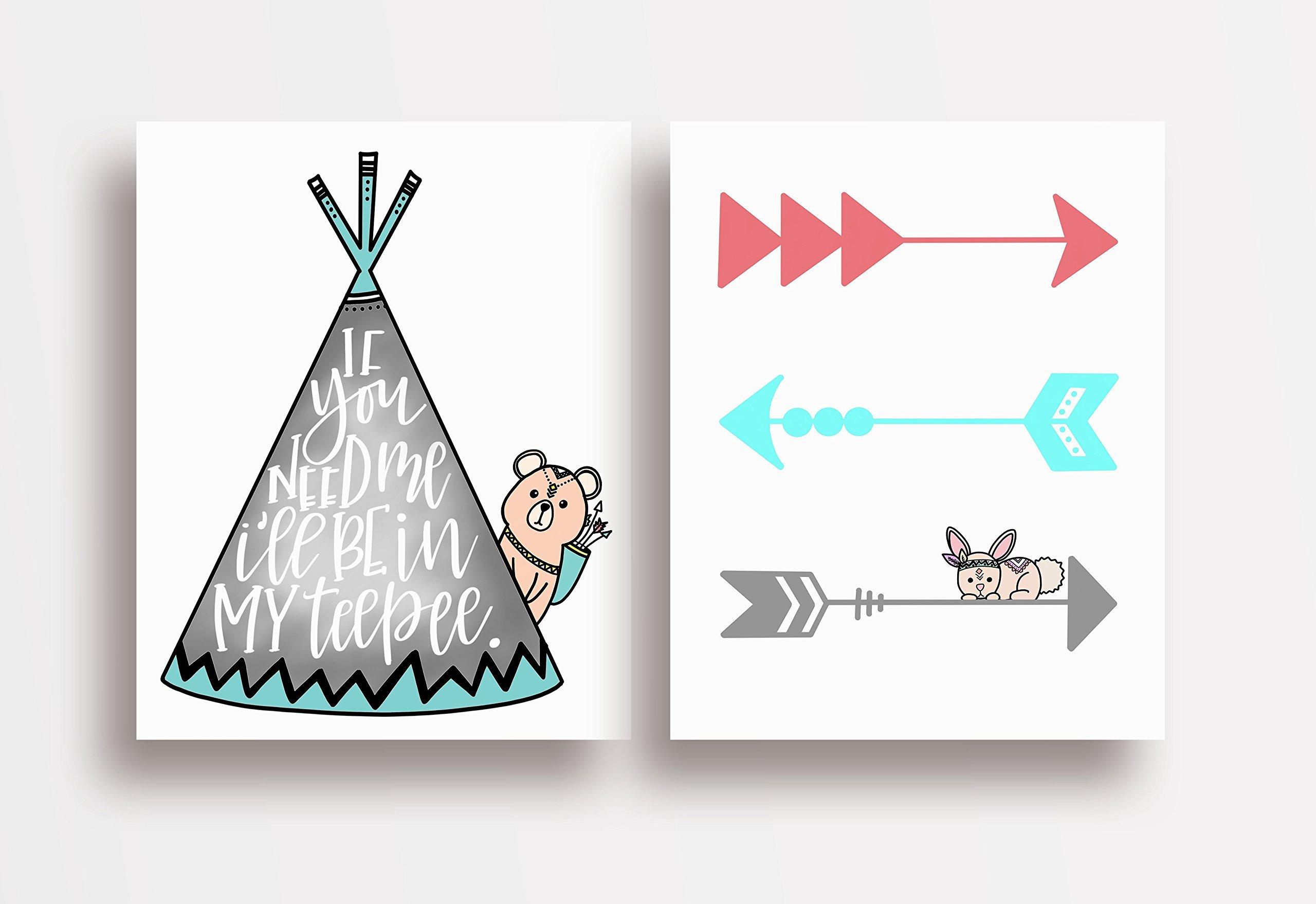 Two Piece Cardstock Nursery Prints 8.5 x11 ''Colorful Teepee''
