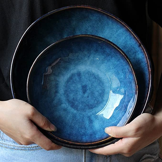 Japonais Style Bleu En C/éramique Cuill/ère /À Soupe R/étro Ramen Bol /À Poign/ée Courte Cuill/ère /À Soupe M/énage Petite Porcelaine Cuill/ère Creative Dessert Fruits Cuill/ère