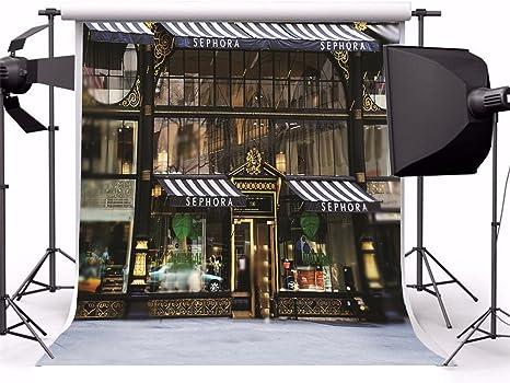 aaloolaa 1,8 x 1,8 m fondo para estudio de fotografía fotos fondos boda Retro Calle escaparates ventana Blurry suelos amantes niña adultos retrato Urban escena Props para grabación de vídeo Studio: Amazon.es: