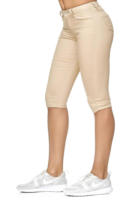 ArizonaShopping - Shorts Damen Treggings Capri 3 4 Stretch Chino Jeans Hose  D2228  Amazon.de  Bekleidung 90a8168d00
