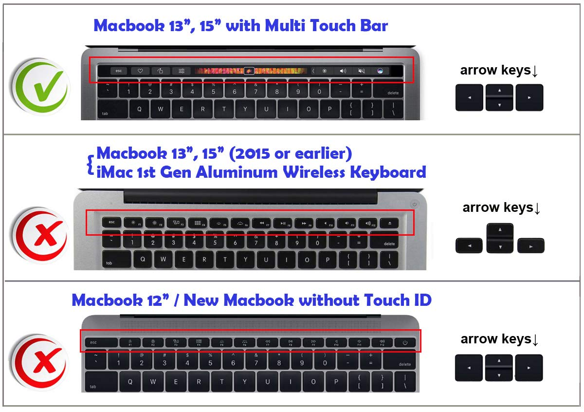 A1706 US EU Layout /& MacBook Pro 15 XSKN Arabic Language Silicone Keyboard Skin Cover for Multi Plus Touch Bar Sticker Gift Black Touch Bar Models MacBook Pro 13 A1707
