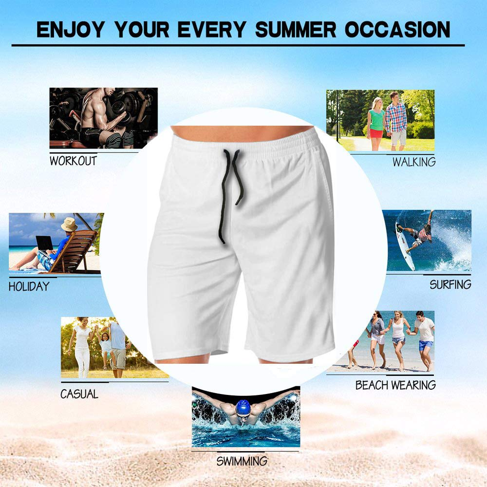 Mens Casual Honey Bees 3D Print Graphic Medium Length Summer Drawstring Beach Shorts Surfing Trunks Pants
