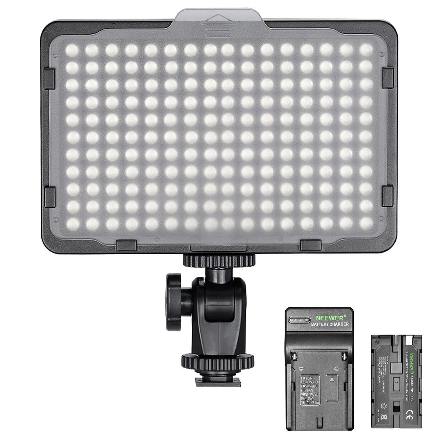 Neewer Dimmable 176 LED Video Light on Camera LED Panel with 2600mAh Li-ion Battery and Charger for Canon, Nikon, Samsung, Olympus and Other Digital SLR Cameras for Photo Studio Video Photography