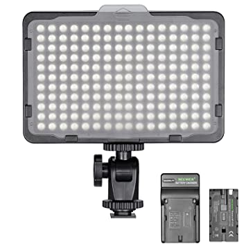 Amazon.com: Neewer regulable 176 LED luz de vídeo en cámara ...