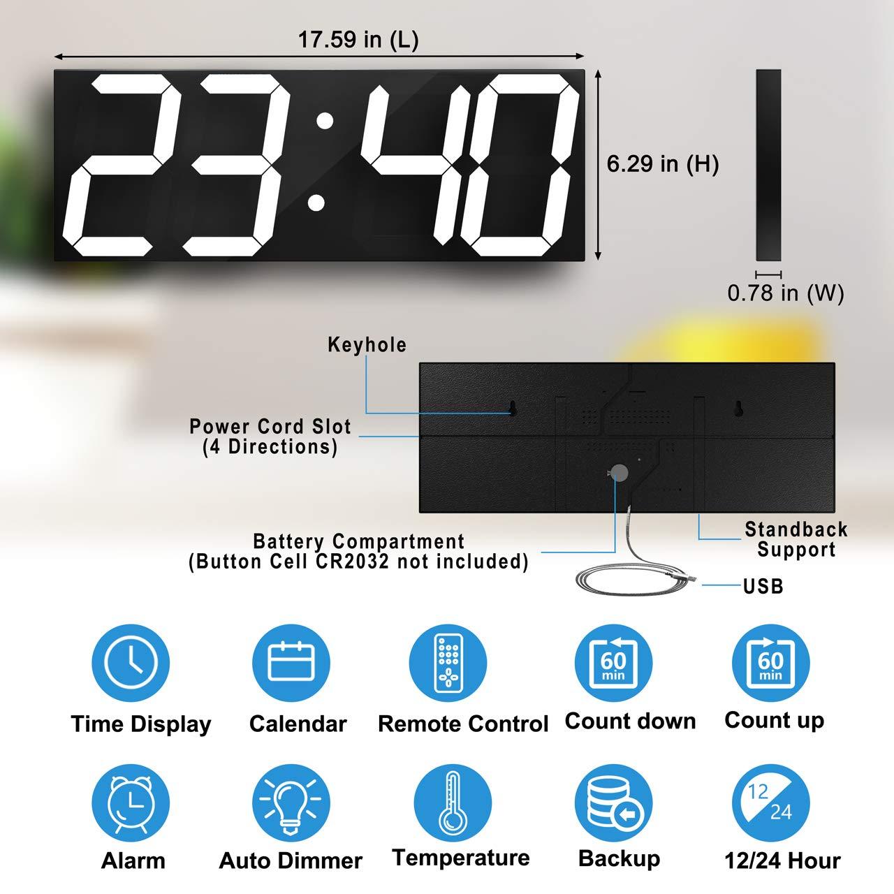 CHKOSDA Remote Control Jumbo Digital Led Wall Clock, Multifunction Led  Clock, Large Calendar, Minute Alarm Clock, Countdown Led Clock, Big