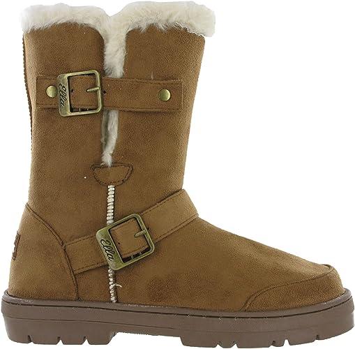 Ladies Ella Flat Boots Mid Calf Buckle Faux Leather Winter Warm Faux Fur Lining