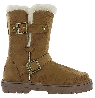 f70048bbdf895e Ella Fur Lined Alex Twin Buckle Snugg Warm Flat Womens Winter Boots (UK 3