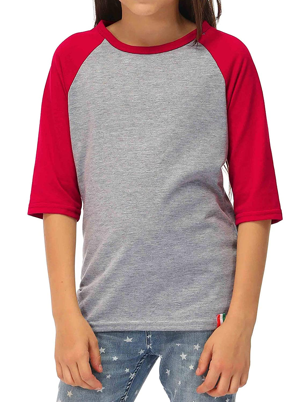 BesserBay Kid's Unisex Baseball Jersey 3/4 Sleeve Tee Raglan T-Shirt 1-8 Years