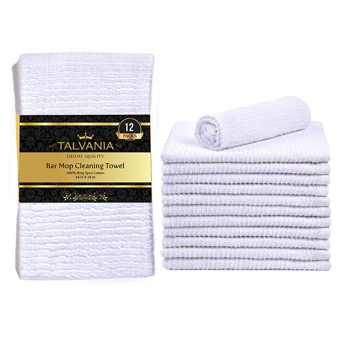 Talvania Kitchen Bar Mop Cleaning Towels 100 Pure Cotton Kitchen Towels Super Absorbent Ribbed Terry White Bar Mops Long Lasting Multi Purpose Home