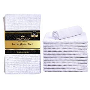 """Talvania Kitchen Bar Mop Cleaning Towels 100% Pure Cotton Kitchen Towels Super Absorbent Ribbed Terry White bar mops Long Lasting Multi-Purpose Home Kitchen, Rags, Shop Towels, 16""""x19"""" Pack of 12"""