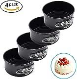 AFYHA 4-inch Mini Springform Pans, Set of 4 Carbon Steel Baking Pan / Non-stick Mini Cake Pans, Round Bakeware Set / Mini Cheesecake Pan with Removable Bottom