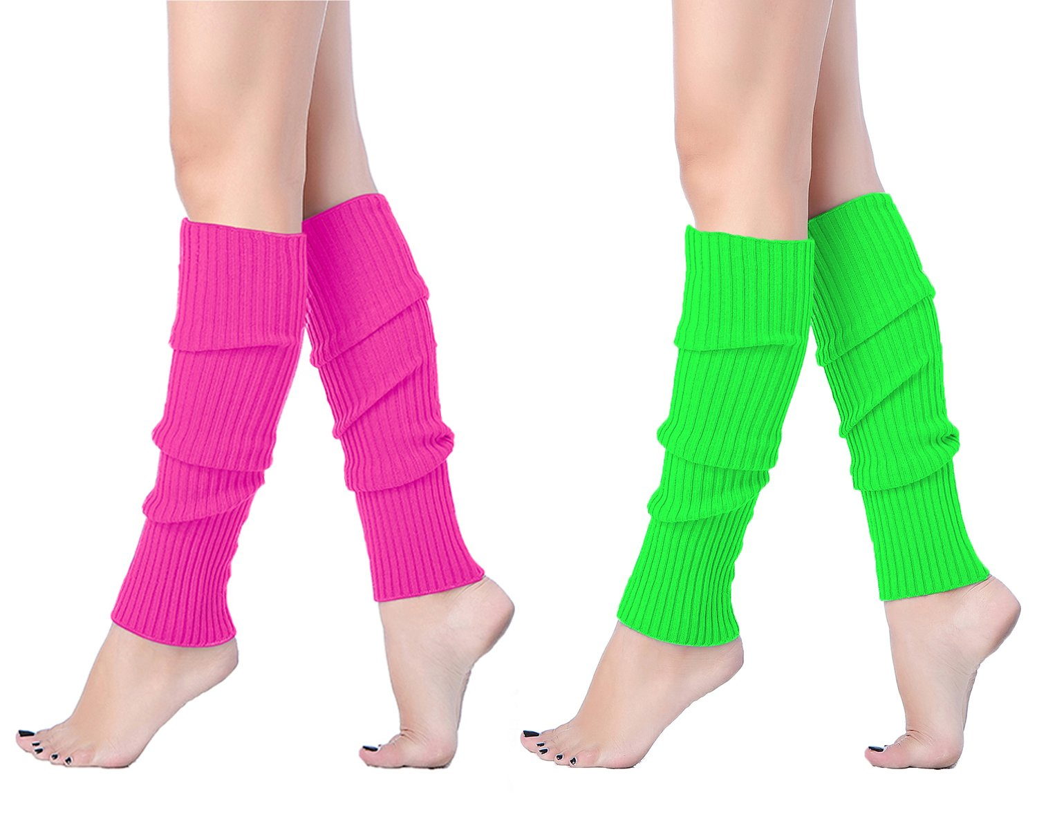 V28Women Winter 80s Eighty's Warm Leg Warmers Knitted Long Socks (one size, 2 pack(Green+Rose))