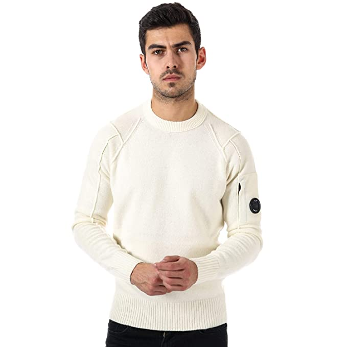 21fa33f6d75 C.P. Company Mens Mens Lambswool Crew Jumper in White - XL: C.P. ...