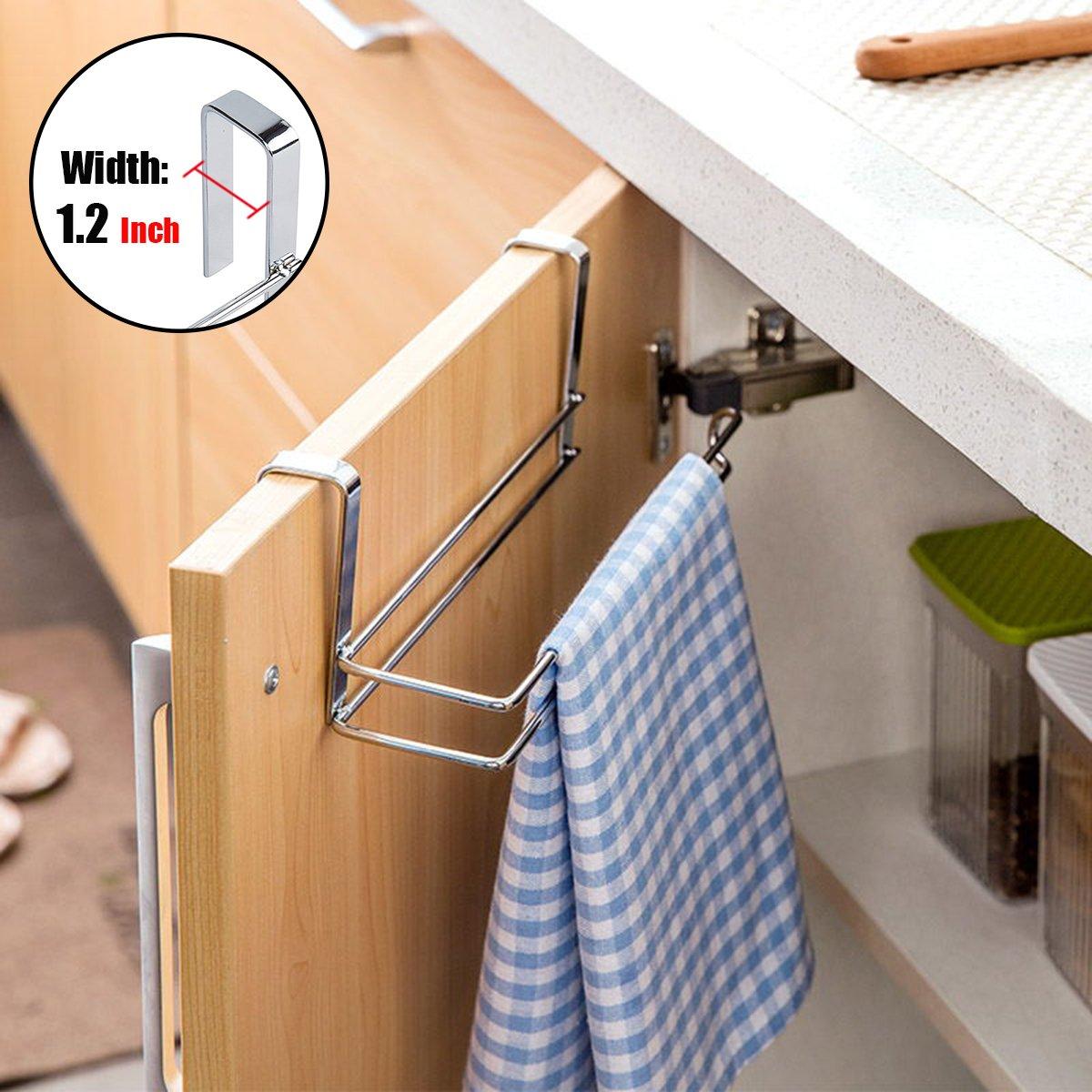 Stainless Steel Aiduy Hanging Paper Towel Holder Under Cabinet Paper Towel Rack Hanger Over the Door Kitchen Roll Holder Paper Towel Holder