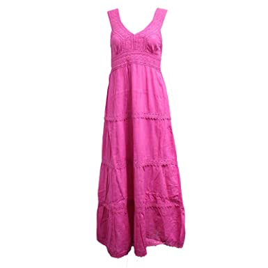 dfbf5a64490 Womens Boho Hippie Gypsy Strappy Soft Cotton Long Maxi Midi Summer Beach  Dress (One Size