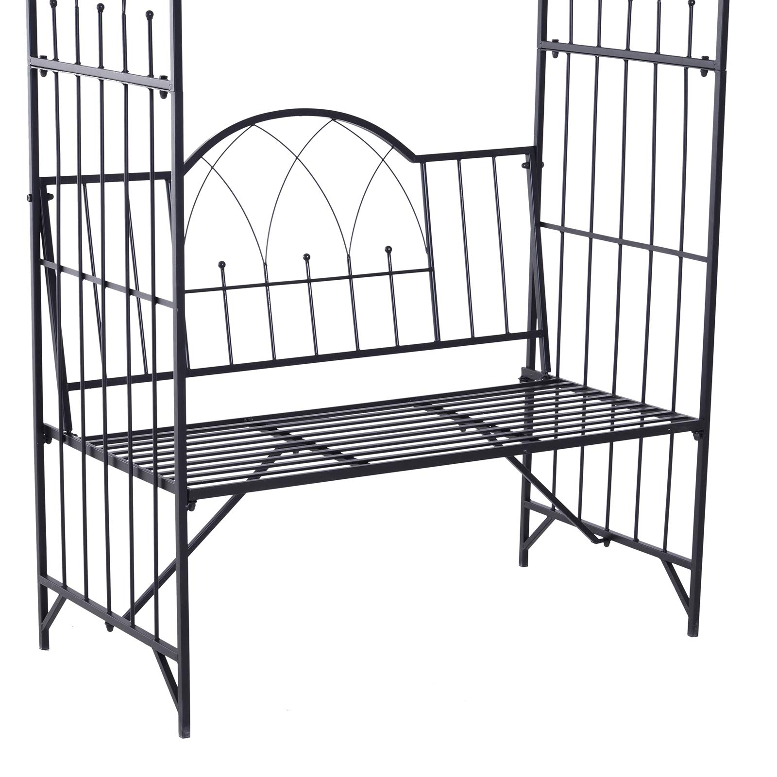 Outsunny Outdoor Garden Arbor Arch Steel Metal with Bench Seat - Black by Outsunny (Image #6)