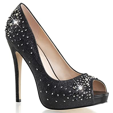 3853de6583b Summitfashions Womens Shimmering Black Peep Toe Pumps Shoes with  Rhinestones and 5   Heels Size