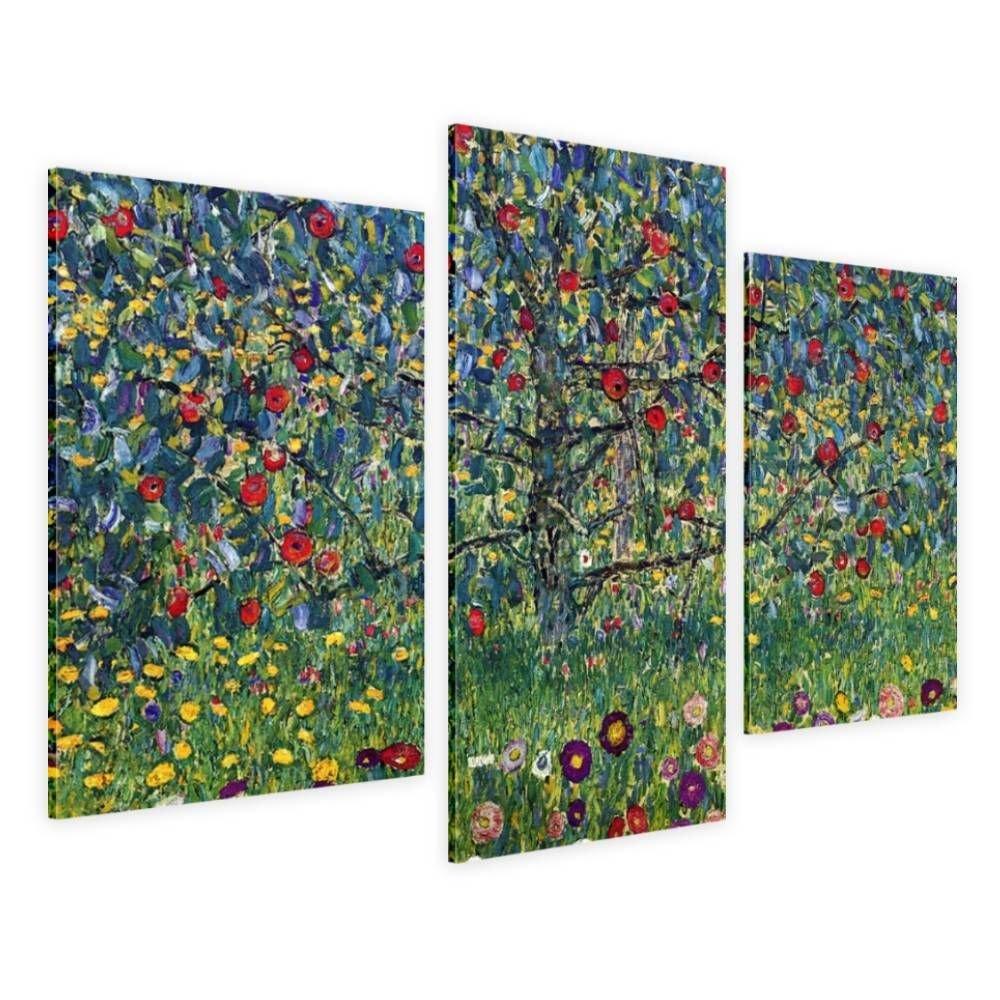 Alonline Art - Apple Tree Gustav Klimt Framed Stretched Canvas (100% Cotton) Gallery Wrapped - Ready to Hang | 42''x28'' - 107x71cm | 3 Panels Multi Framed Art Framed Wall Decor Framed Artwork