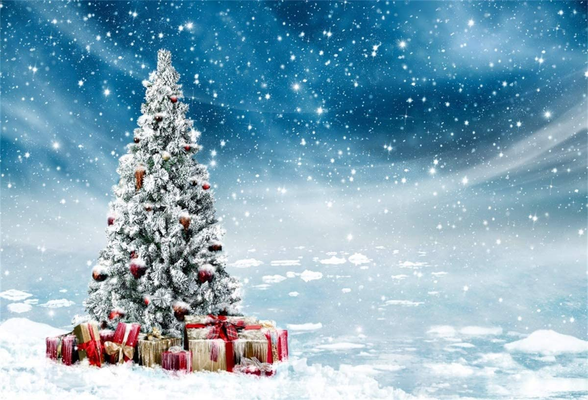 YEELE Snow Landscape Backdrop Outdoor Christmas Tree in Ice and Snow Photography Background 10x8ft Xmas Party Decoration Kids Acting Show Artistic Portrait Photoshoot Studio Photo Booth Wallpaper