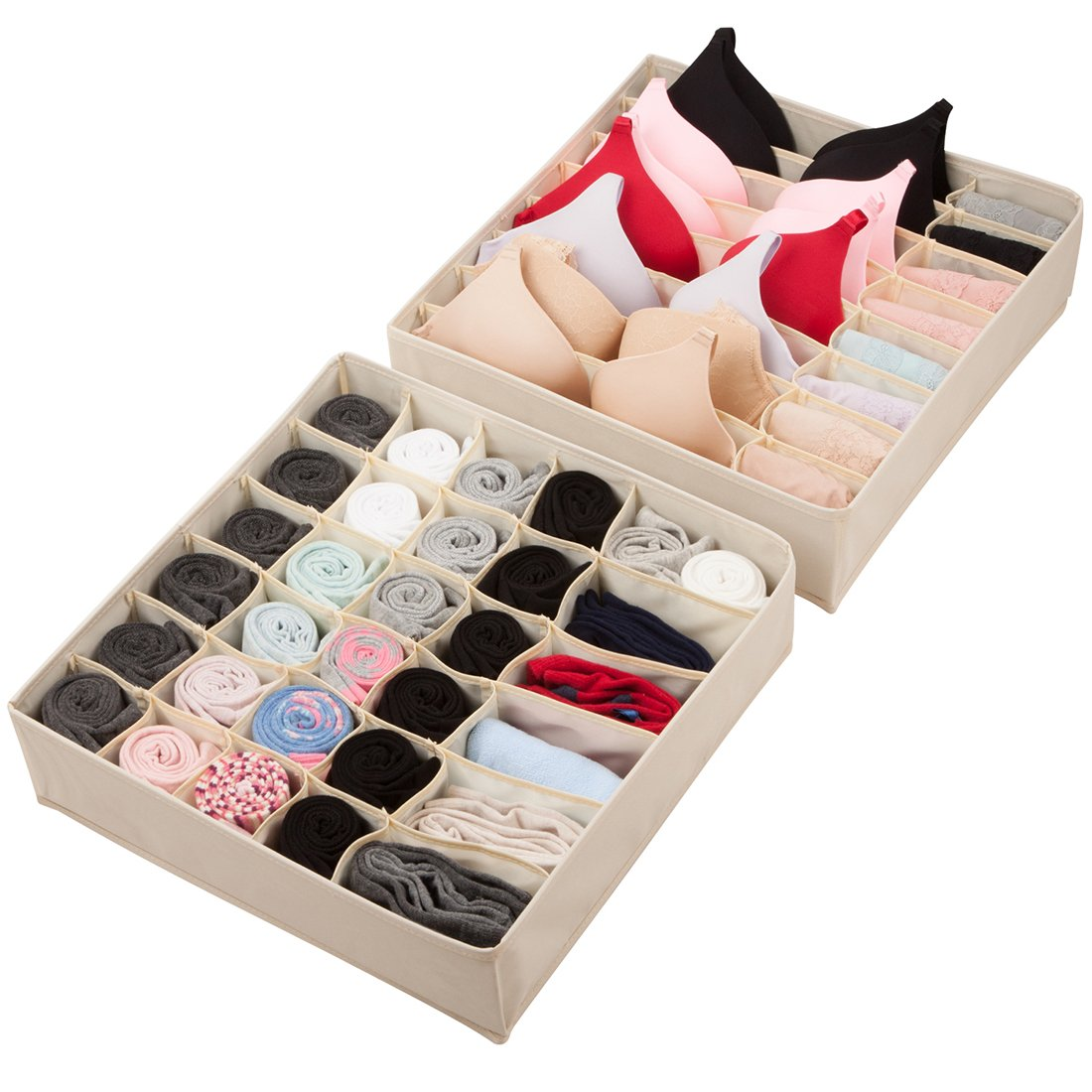 Univivi Closet Organizers Underwear Drawer Storage Box Foldable Oxford Fabric Large Size,Beige, Set of 2