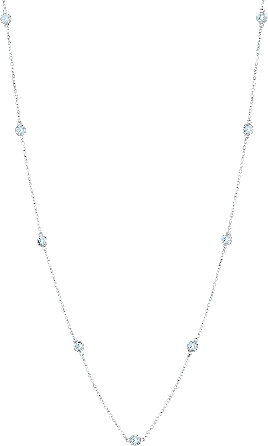 18 Round 3MM Natural Gemstones 9 Stations 925 Sterling Silver Necklace