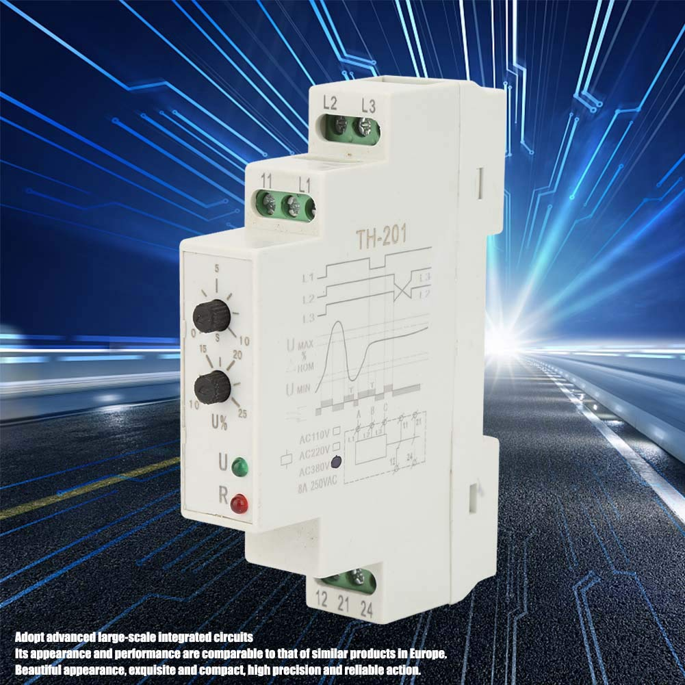Phase Sequence, 380V TH-201 Power Protection Relay Three Phase Sequence Control Relays Voltage Monitor by Huairdum (Image #4)
