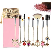 8 Piece Sailor Moon Makeup Brushes Set Professional Kabuki Brushes Foundation Face Liquid Powder Cream Eyebrow Eyeshadow Eyeliner Blush Cosmetics Concealer Brush With Pink Pouch
