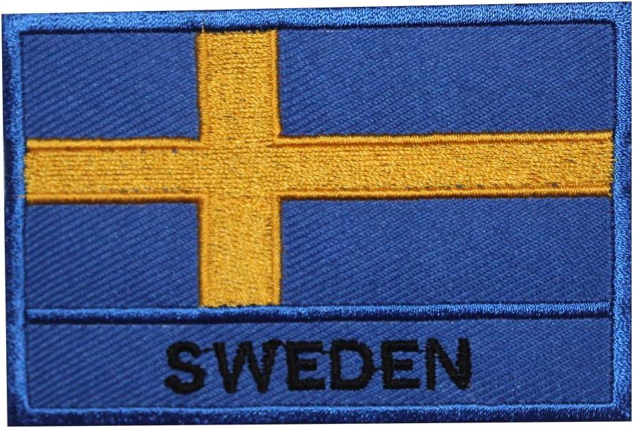 Parche bordado para coser o planchar, diseño de bandera nacional de Suecia: Amazon.es: Hogar
