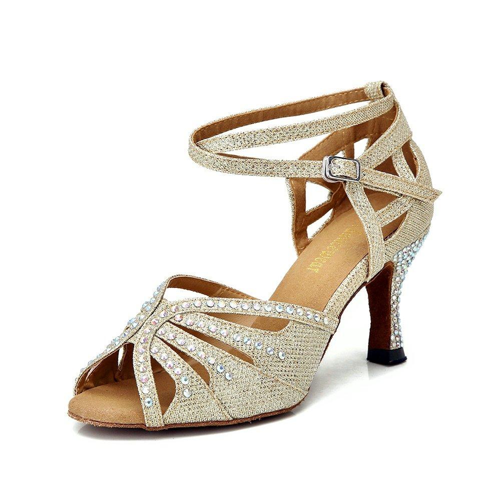 TTdancewear Women Rhinestone Ballroom Dance Shoes Latin Salsa Performance Dance Shoes B075HXL5JB 9.5 B(M) US|Gold-2.5inch Heels