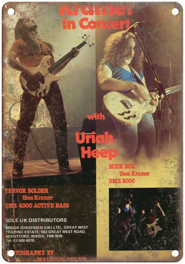 Kramer Guitar Uriah Heep Vintage Ad 12'' X 9'' Retro Look Metal Sign R19 by Adkult