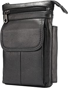 Smartphone Protective Clips Genuine Leather Cell Phone Belt Pouch for iPhone 12 Pro Max Holster with Belt Clip/Loop, For Samsung S20 FE 5G/Note 20 Ultra Crossbody Case Wallet Men Messenger Bag Waist P