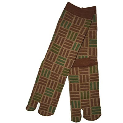 Japan Ninja 2toe Men's Socks 31504604 Brown Blocks Sangikuzushi Kyoto Kurochiku at Men's Clothing store