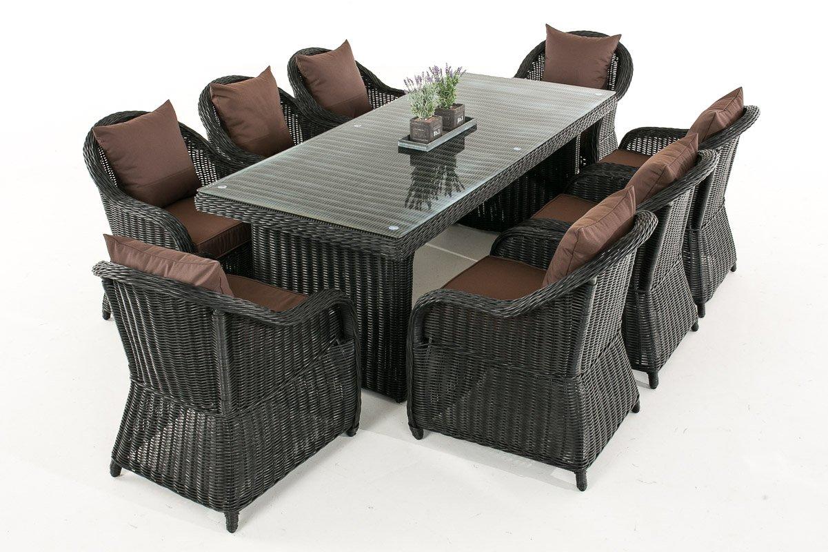 Mendler Garten-Garnitur CP071 XL, Sitzgruppe Lounge-Garnitur Poly-Rattan ~ Kissen terrabraun, schwarz