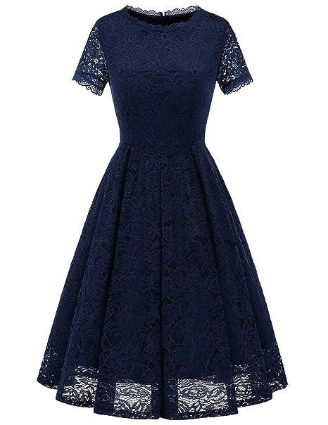 Dresstells Mujer Verano Vestido Largo Manga Corta Cuello Redondo Fijo liches Elegante Cóctel Ball Vestido Azul
